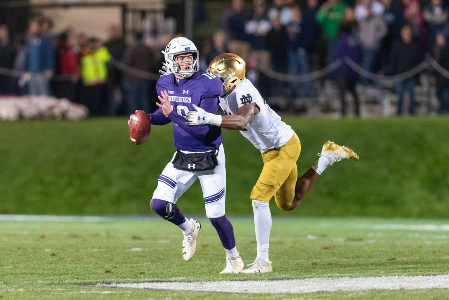 Clayton Thorson is sacked. The senior quarterback and the Wildcats struggled to establish themselves in Saturday's 31-21 loss to Notre Dame.