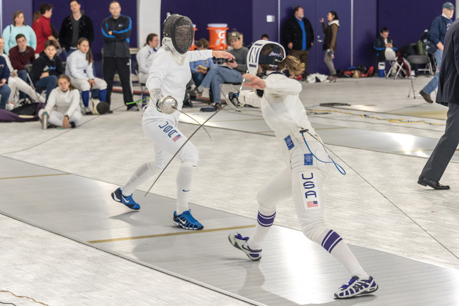 A Northwestern fencer prepares to fence. Northwestern heads to Columbus for the Elite Invitational this weekend.