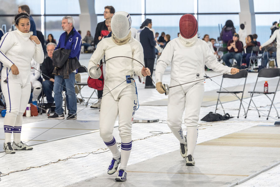 A Northwestern fencer prepares for battle. The Wildcats will travel to State College, Pennsylvania to fence at the Penn State Open this weekend.