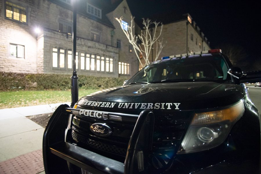 University+Police+car+parked+in+the+Sorority+Quad+Tuesday+night.+University+Police+has+been+responding+to+recent+incidents+by+increasing+patrol+on+and+around+Northwestern%E2%80%99s+Evanston+campus.