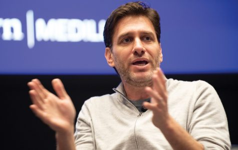 Mike Greenberg discusses social justice and sports at an event Saturday. Greenberg emphasized using his platform in a variety of ways beyond simple sports commentating.