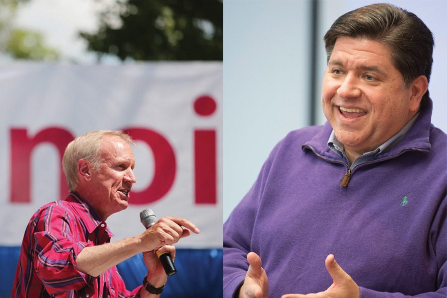 Left: Gov. Bruce Rauner speaks at the Illinois State Fair in Springfield in August 2016. Right: Governor-elect J.B. Pritzker speaks at an event.