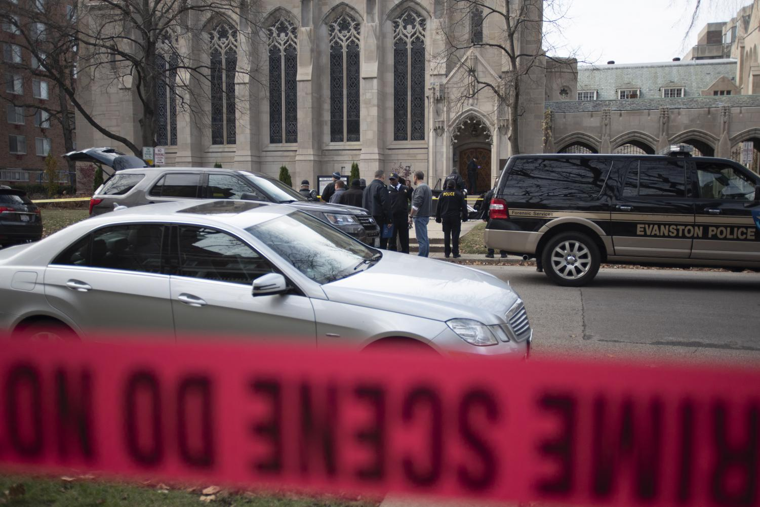Evanston Police investigate at the First United Methodist Church at 516 Church St.