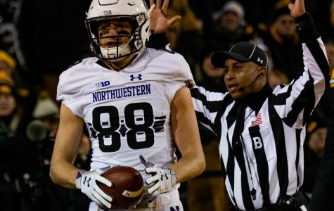 Ben Skowronek celebrates after a touchdown catch. The touchdown proved to be the defining moment in Northwestern's win at Iowa.