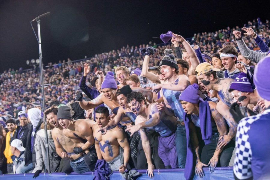 The+student+section+at+the+Notre+Dame+game+on+Nov.+3.+