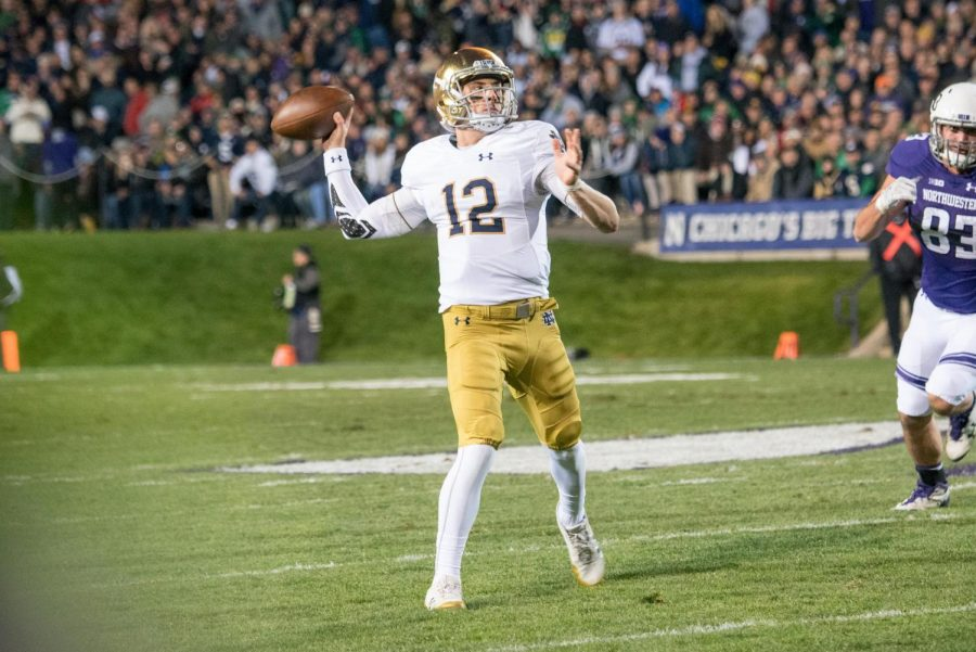 Notre+Dame+quarterback+Ian+Book+fires+a+pass.+Book+rolled+over+the+Northwestern+secondary+in+the+second+half+of+Saturday%27s+win+over+the+Wildcats.
