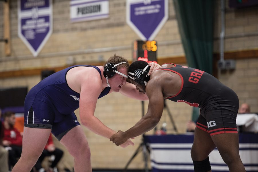 Conan Jennings grapples with an opponent. The senior won his first match of the year in the North Dakota State dual.
