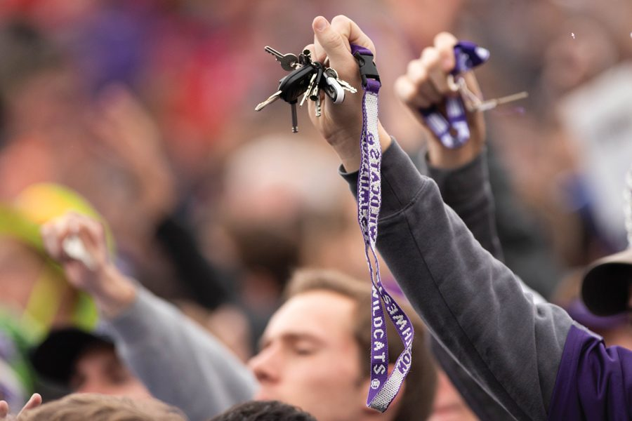 Northwestern students jingle keys before a kickoff. The taunt has some elitist undertones, but it's been part of the school's tradition for years.