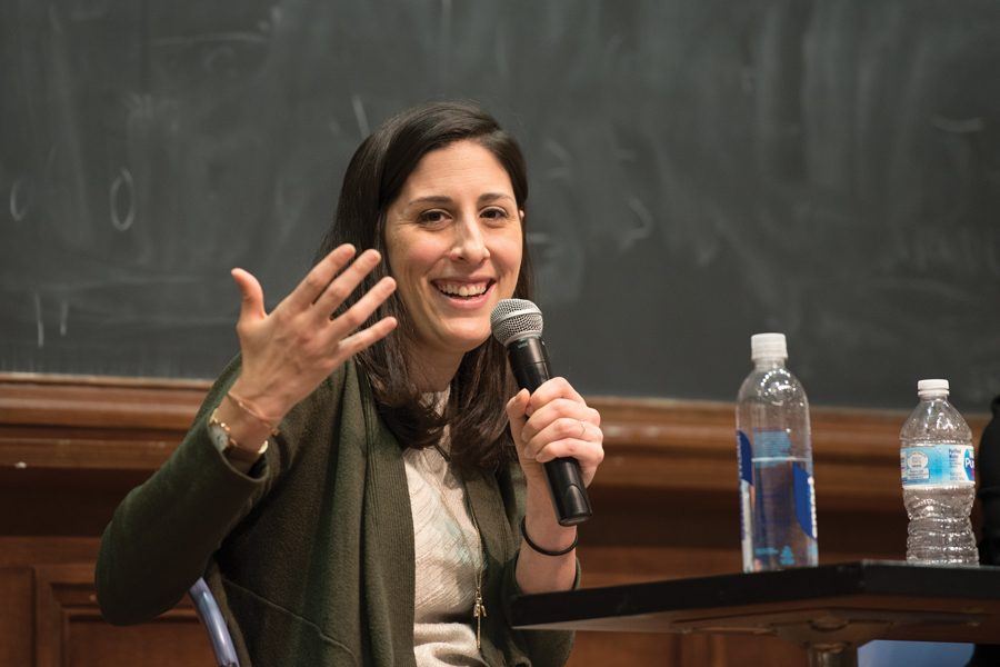 Vox correspondent Sarah Kliff speaks at an event Wednesday. Kliff discussed her experience reporting on Affordable Care Act recipients that voted for Trump.