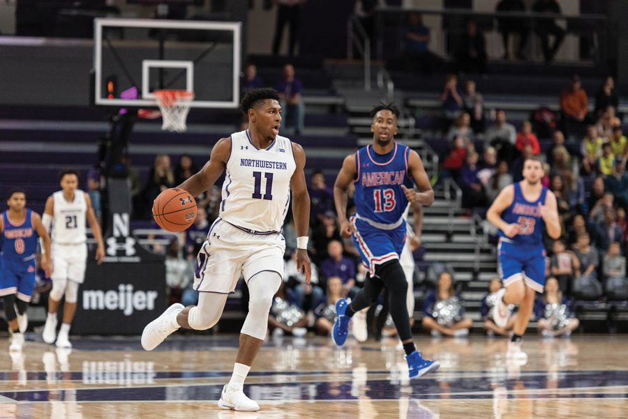 Anthony+Gaines+dribbles+the+ball.+The+sophomore+guard+scored+11+points+in+the+Wildcats%E2%80%99+last+game+against+Utah.+