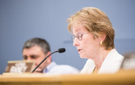 Ald. Eleanor Revelle (7th) speaks at a city meeting while Ald. Tom Suffredin (6th) looks on. City Council meetings in Evanston often go long into the night, and aldermen say the long hours don't help discussion and decision-making.