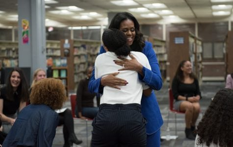 Ahead of book release, Michelle Obama tells students to find their stories, use their voices