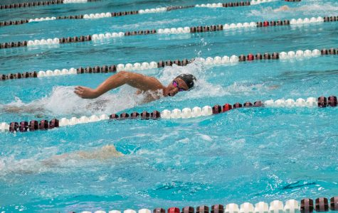 DJ Hwang swims. The sophomore won the 1650 freestyle event.