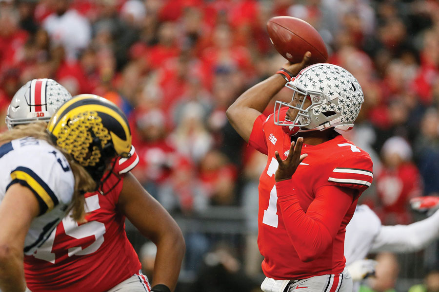 Dwayne Haskins throws a pass against Michigan. The Ohio State quarterback tore up the Wolverines' secondary and will post a stiff test for Northwestern.