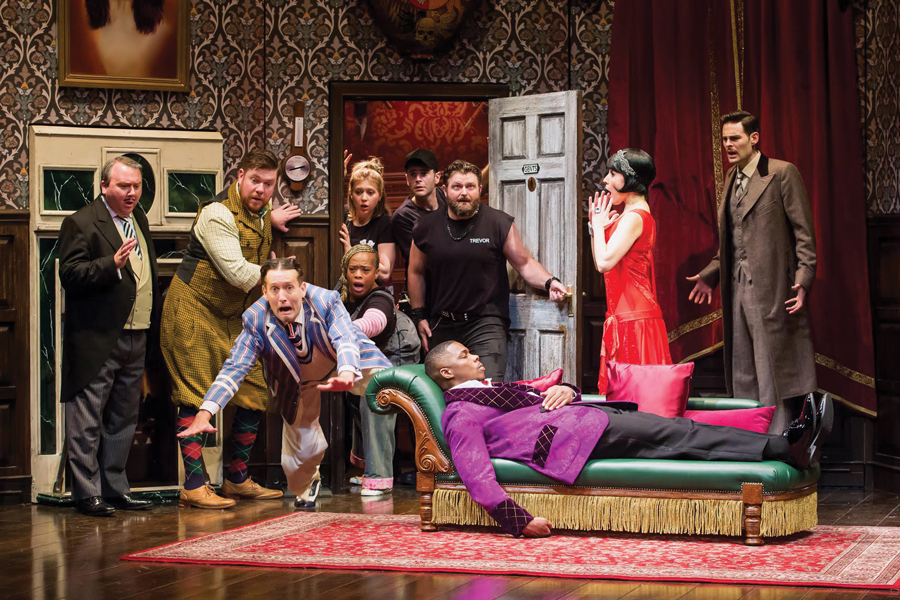 """Actors perform in """"The Play That Goes Wrong."""" Alums Jacqueline Jarrold and Ned Noyes are both starring in the national tour, which will be heading to Chicago's Oriental Theatre from December 4 to December 16."""