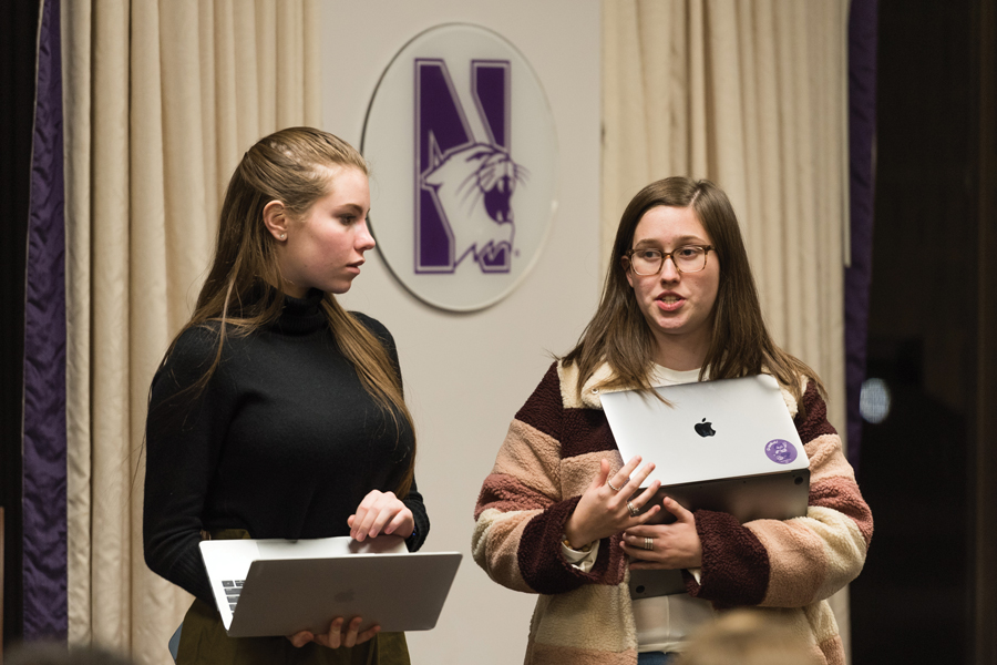 Weinberg freshman Margot Bartol and Communication freshman Arianna Staton. Bartol and Staton proposed the resolution calling for the University to take greater action in the wake of recent violent incidents.