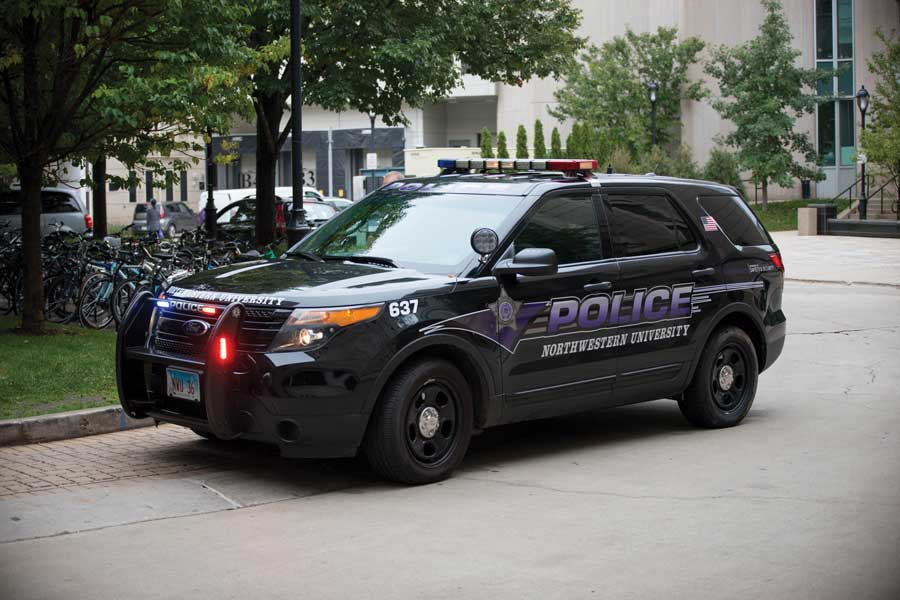 A Northwestern University police car. University Police alerted the community about two incidents on or near the Evanston campus.