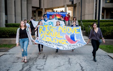 Student protesters during the 2016 Take Back the Night annual march. Survivor advocates fear that new Title IX rules will discourage survivors from coming forward.