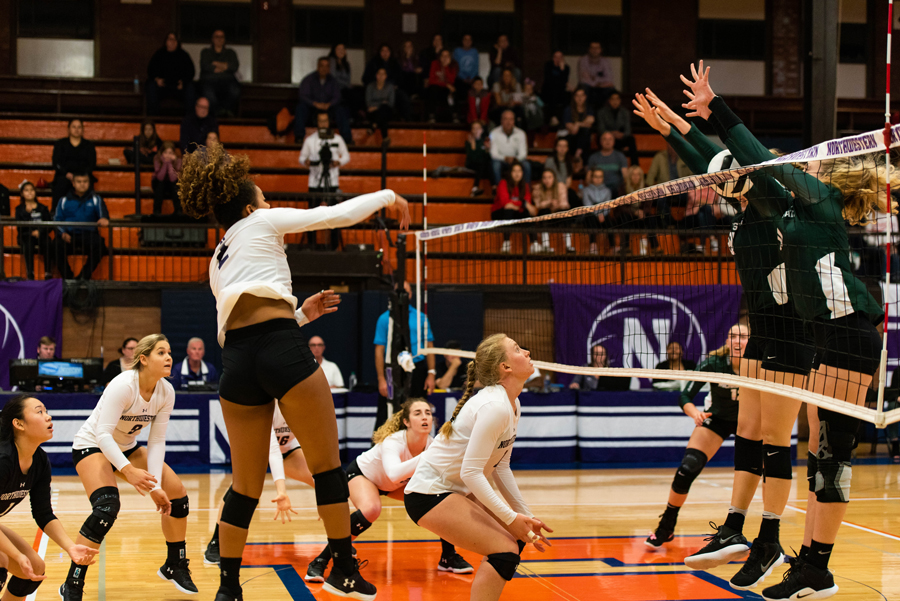 Abryanna Cannon hits the ball. The freshman outside hitter is third on the team with 256 points on the season.