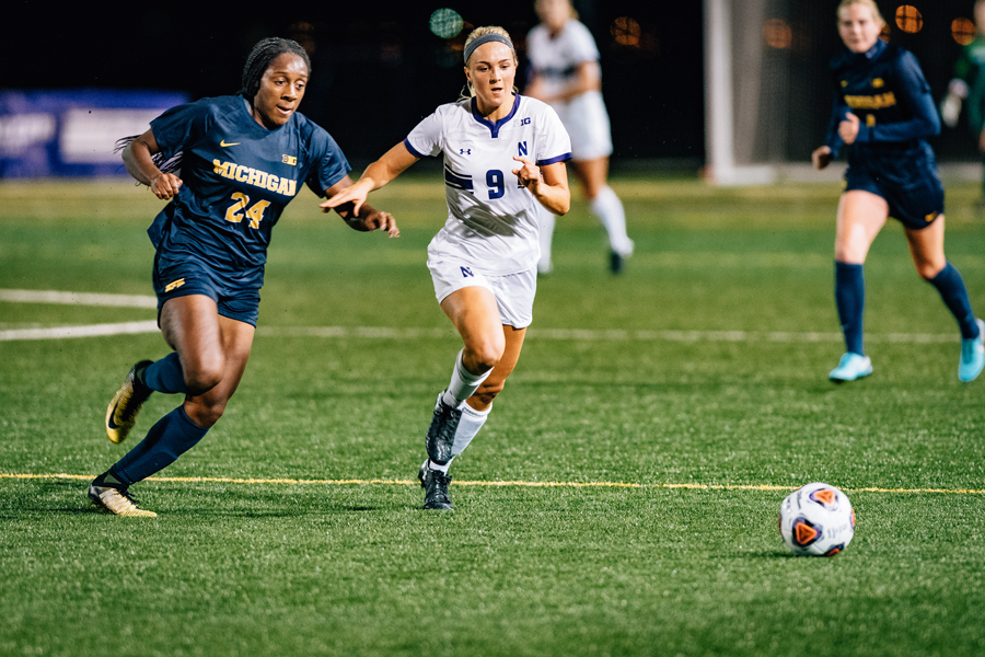 Kayleigh Stahlschmidt races up the field. The Wildcats barely qualified for the NCAA Tournament on Monday, but they have high expectations.