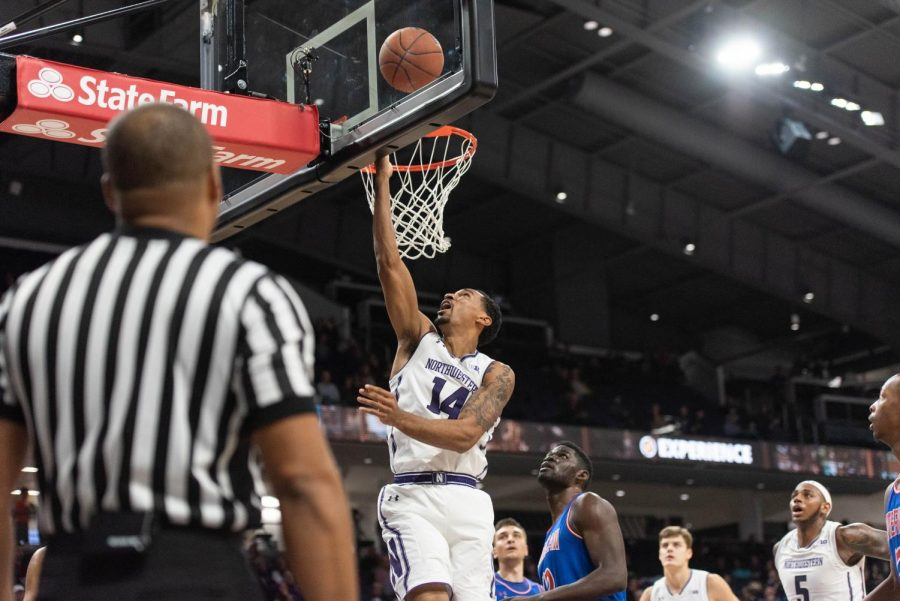 Ryan Taylor goes up for a layup. Taylor had a solid outing Friday as Northwestern topped La Salle.