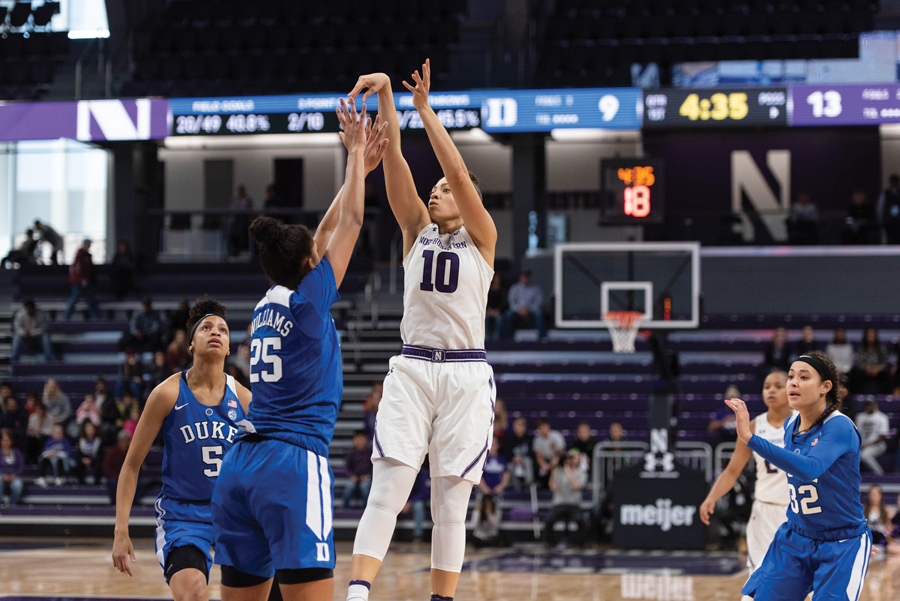 Lindsey Pulliam puts up a jumper. The sophomore guard had 21 points in NU's victory over Duke.