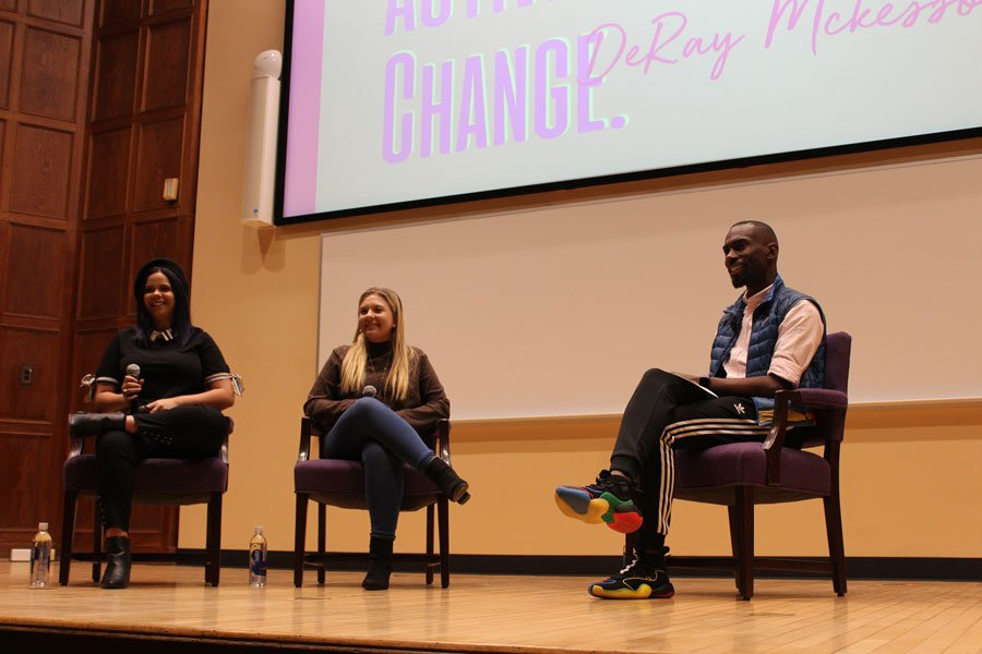 Marjory Stoneman Douglas High School students Samantha Fuentes and Jaclyn Corin shared stories about advocating for gun violence prevention since the mass shooting in Parkland, Florida with fellow activist DeRay McKesson.