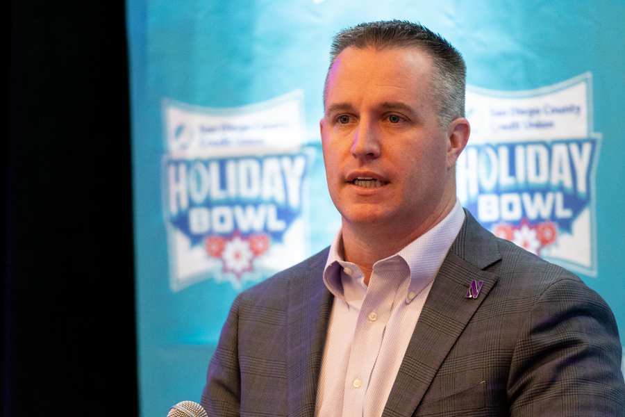 Pat Fitzgerald speaks to the media on Sunday, one day ahead of the Holiday Bowl.