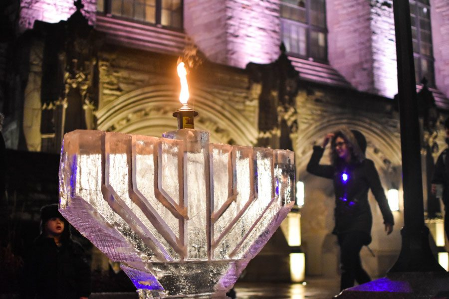 The+ice+menorah+outside+Deering+Library.+