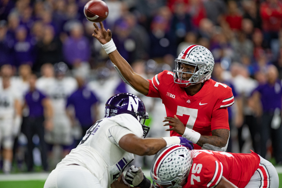 Dwayne Haskins fires a pass. The Ohio State quarterback decimated Northwestern's defense on Saturday.