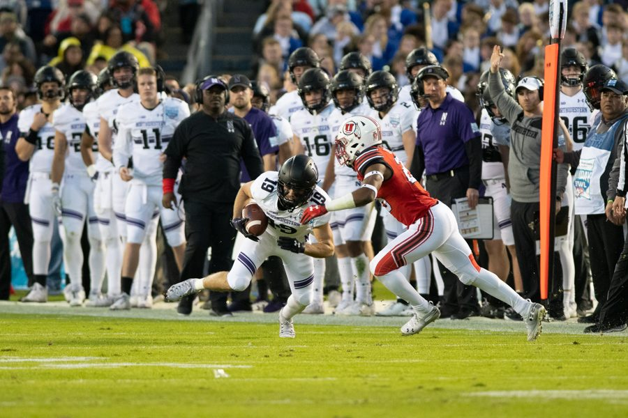 Riley Lees makes a move. The sophomore receiver and the Wildcats launched a stunning comeback to win the Holiday Bowl on New Year's Eve.