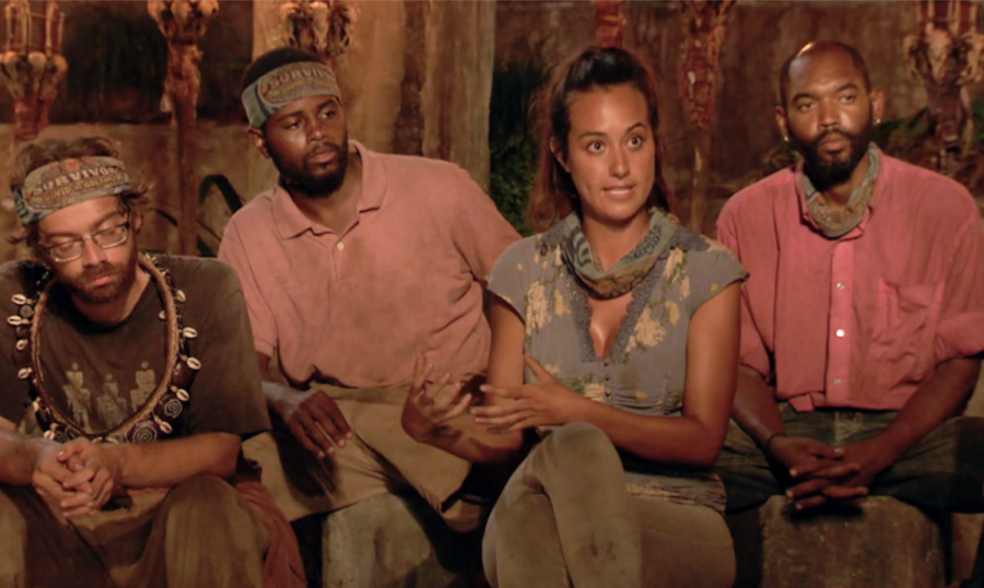 Christian%2C+Davie%2C+Angelina+and+Carl+%E2%80%94+four+competitors+in+%22Survivor%3A+David+vs.+Goliath%22+%E2%80%94+engage+Jeff+Probst+during+Tribal+Council.+For+some%2C+the+show+provides+a+bonding+experience+with+family+and+friends+during+the+holiday+season.