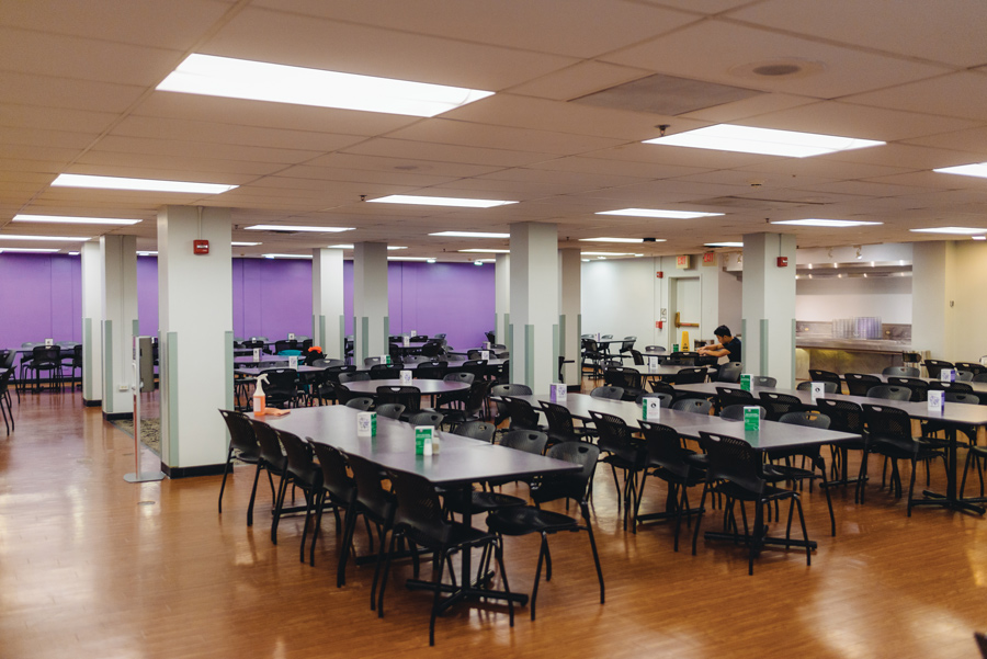 Elder dining hall. Because Elder dining hall renovations have been extended for another two quarters, Compass is serving weekday breakfasts and Wednesday night dinners in the building's lounge.