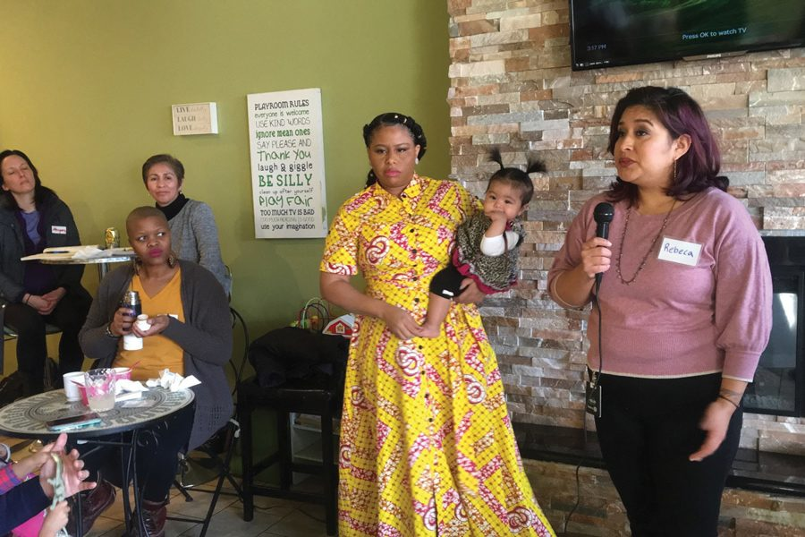 Rebeca Mendoza and Anya Tanyavutti speak at a campaign kick-off at YoFresh Yogurt Cafe Sunday. The three members of the District 65 school board up for uncontested reelection in April plan to use their campaigns to engage the community.