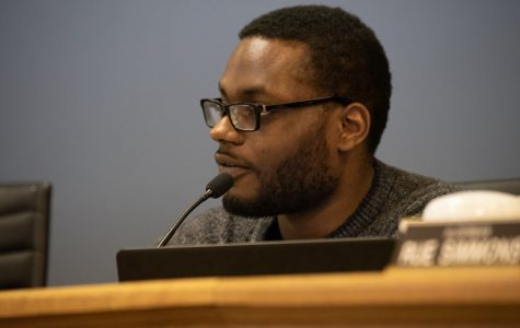 City Clerk Devon Reid speaks at City Council. Reid emphasized the importance of reforming the racial criminalization system at Monday's meeting