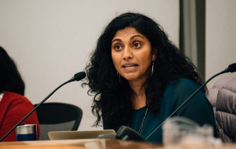Board President Suni Kartha speaks at the board meeting. Board members met to discuss the District's commitment to equity in relation to the Achievement and Accountability Report