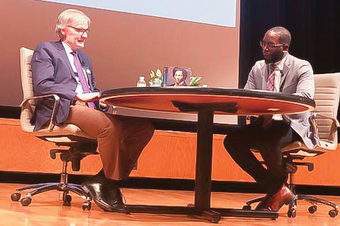 """David Blight and Marcus Campbell discuss at Evanston Township High School. Blight talked about his newest book, """"Frederick Douglass: Prophet of Freedom."""""""
