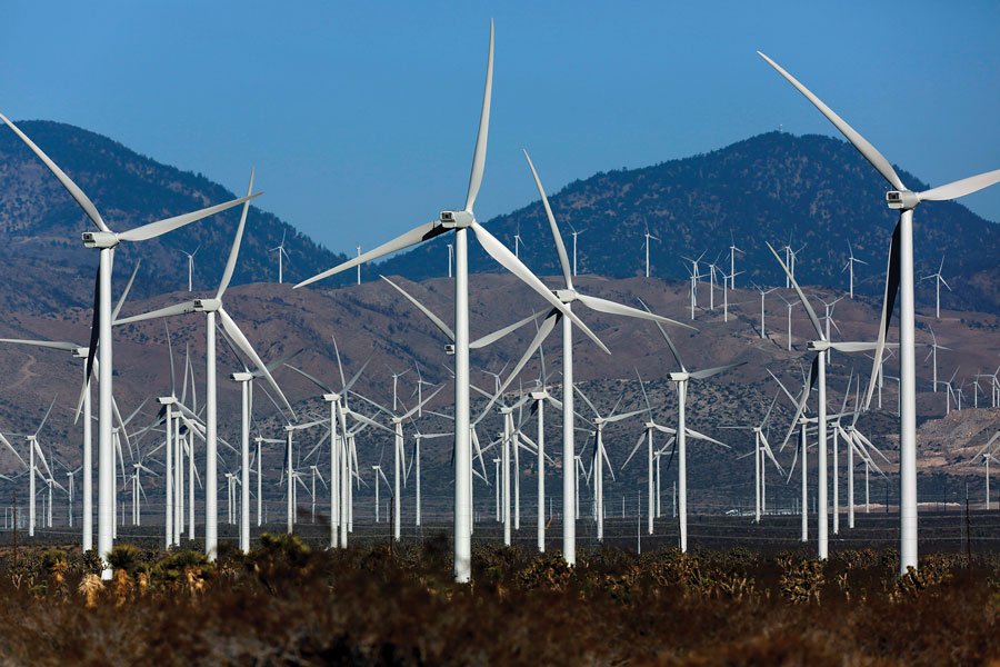 Wind Turbines in Los Angeles in May 2013.