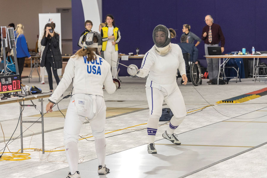 A Northwestern fencer duels with an opponent. The Wildcats swept the field again this weekend in Philadelphia
