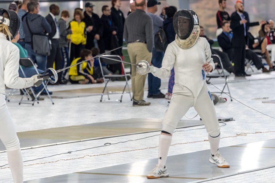 A Northwestern fencer fences. The Wildcats hope to go undefeated this weekend.