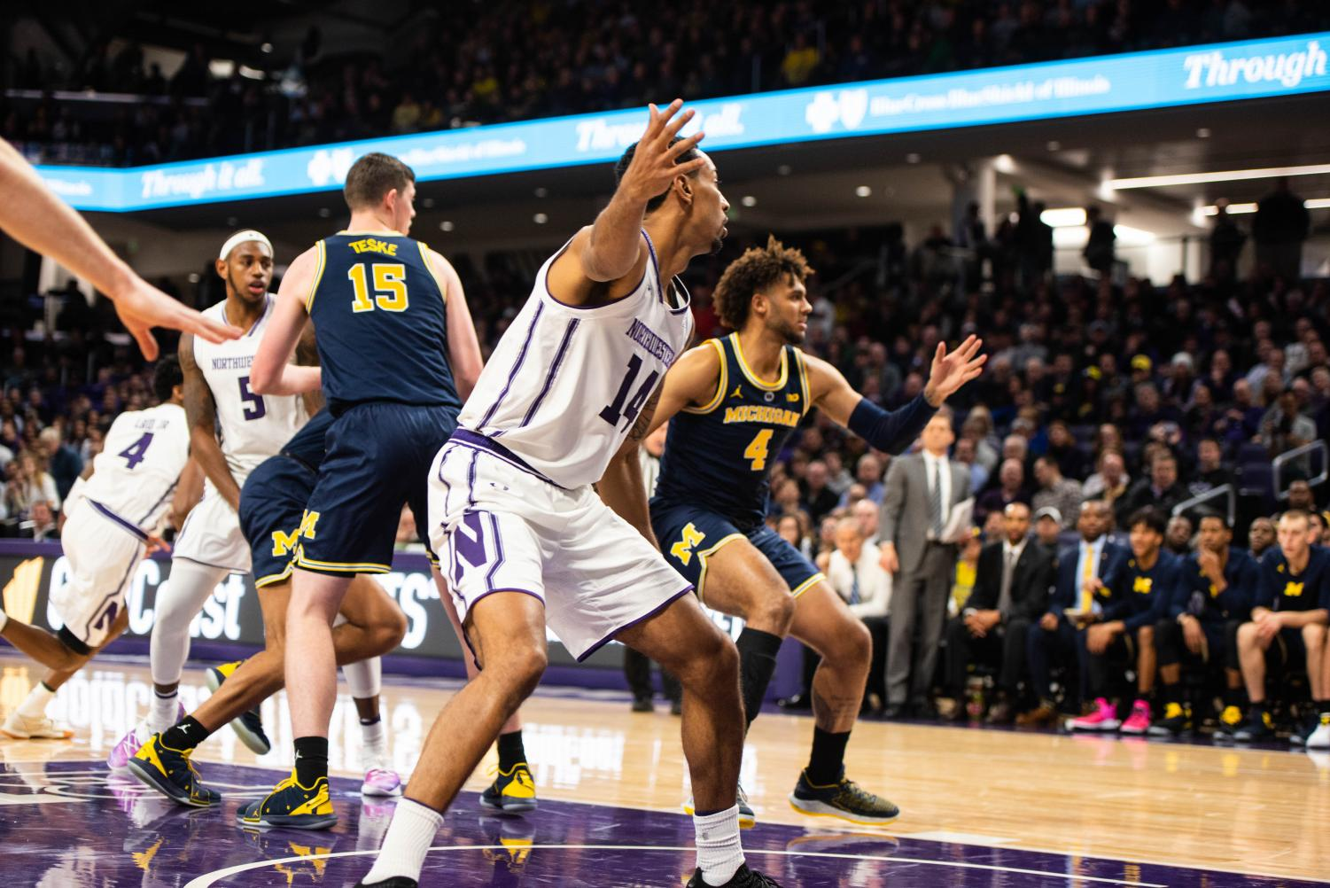 Ryan Taylor calls for the ball. The graduate guard had two big three-pointers down the stretch to give the Wildcats the win.