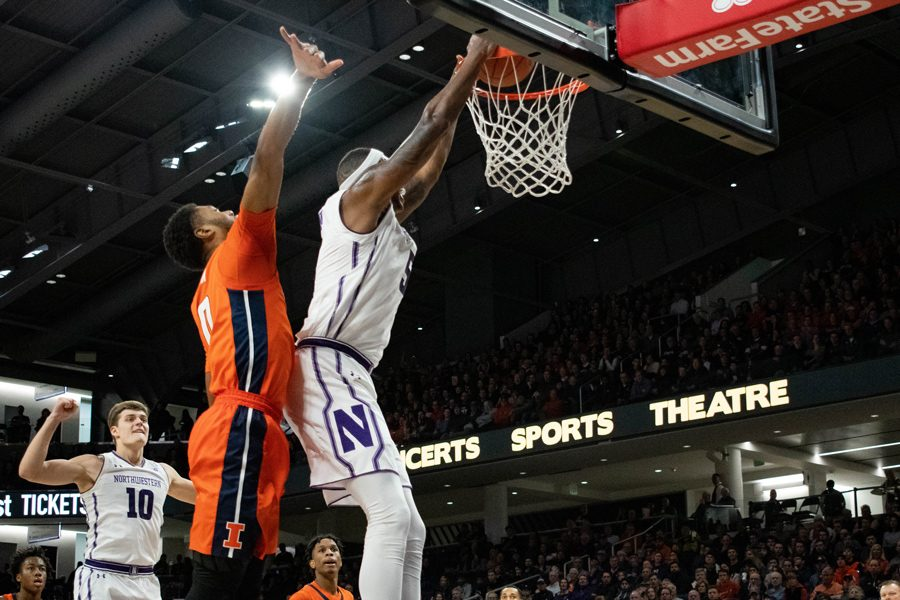 Dererk+Pardon+dunks+the+ball.+The+senior+center+scored+20+points+against+Michigan+in+NU%E2%80%99s+last+game.