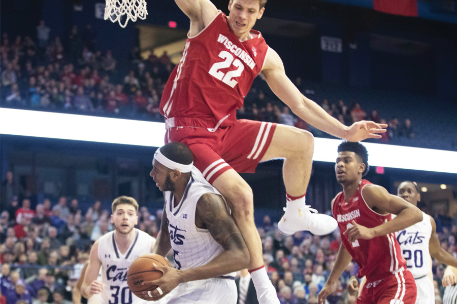 Dererk Pardon gets Ethan Happ to leap in the air. Pardon and Happ are two of the best bigs in the Big Ten.