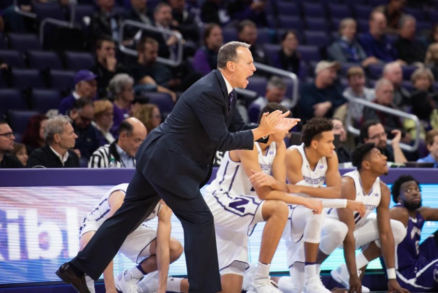 Chris Collins motivates his team. The NU coach collected his 100th win on Jan. 22, becoming the third coach in program history to hit triple digits.