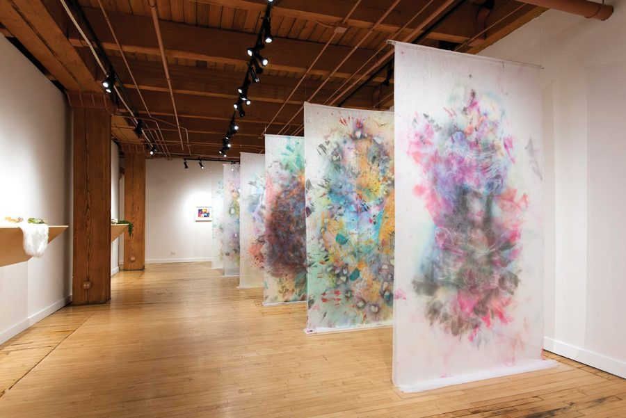 """Rebuilding the Present"" displays the work of seven artists who engage in meditative practices. The exhibition is open to the public at the Weinberg/Newton Gallery through April 13."