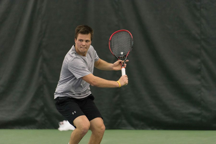Dominik Stary hits a backhand. The Wildcats lost two matches over the weekend, falling to 0-3 over the weekend