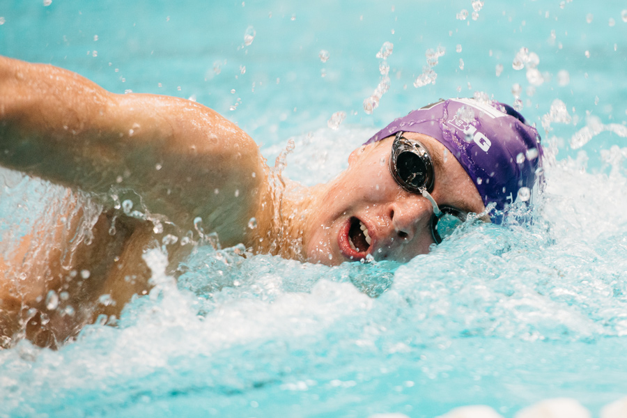 A Northwestern swimmer does freestyle. It will be Senior Day for the Wildcats in a Big Ten dual this weekend.
