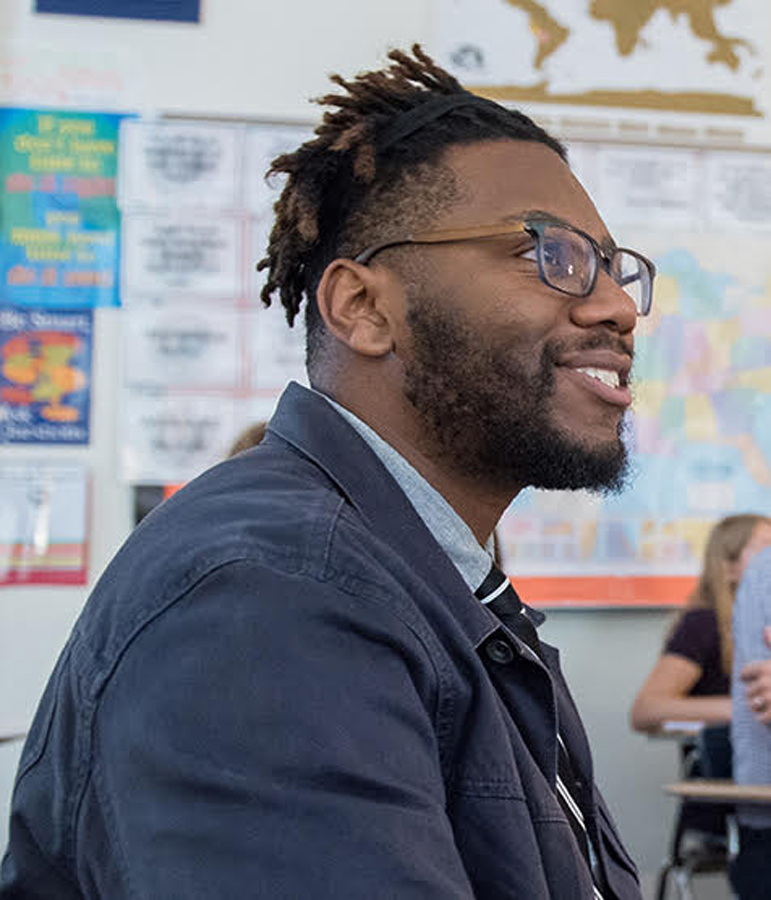 Corey Winchester, history and social sciences teacher at ETHS. Winchester was selected for the Teach Plus Illinois Teaching Policy Fellowship to empower teachers in practice and policy.