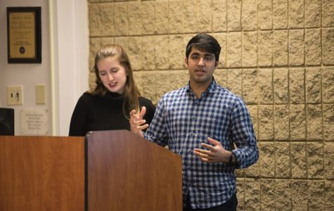 Emily Ash and Sid Ahuja speak at ASG Senate. Ahuja helped spearhead the expansion of a mandated student group CARE training to club sports teams.