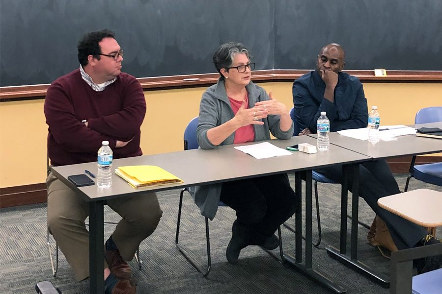 UNICEF NU panelists Haydon Cherry, Laura Toffenetti and Dr. Rohan D. Jeremiah speak in Harris Hall. During the event, the three speakers advocated for more awareness about the Rohingya refugee crisis